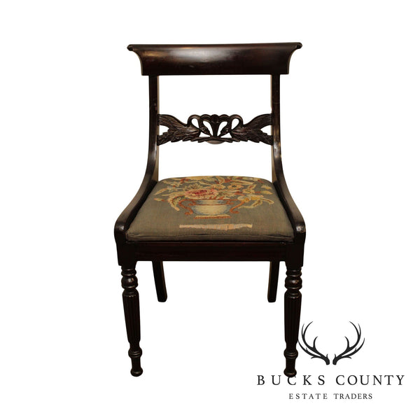 Duncan Phyfe & Sons New York Branded Antique Swan Carved Side Chair