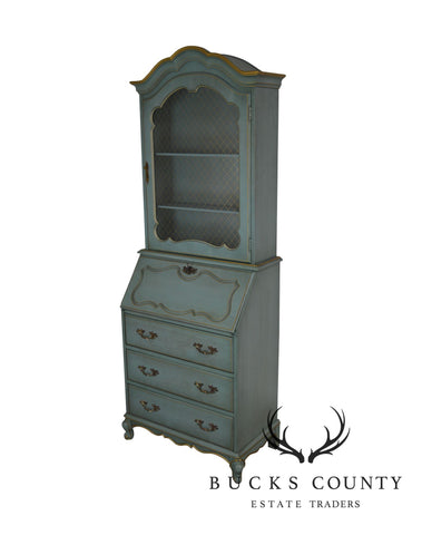 French Louis XV Style Vintage Blue & Gold Painted Secretary Desk
