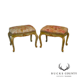 French Louis XV Style Green & Gold Painted Rose Tapestry Seat Pair of Stools or Benches