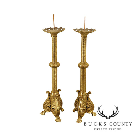 Renaissance Style Antique Brass Pair Tall Candle Prickets