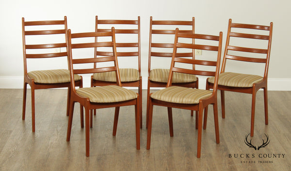 Danish Modern Set 6 Teak Ladder back Dining Chairs by Kai Kristiansen