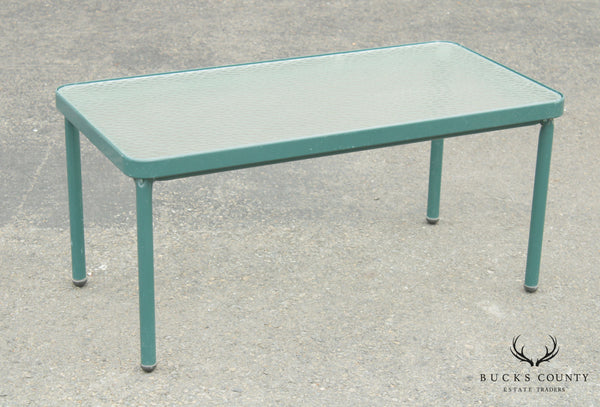 Brown Jordan Vintage Green Painted Glass Patio Top Coffee Table