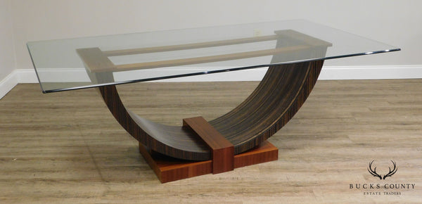 Art Deco Style Exotic Mixed Wood Glass Top Dining Table After Emile Jacques Ruhlmann