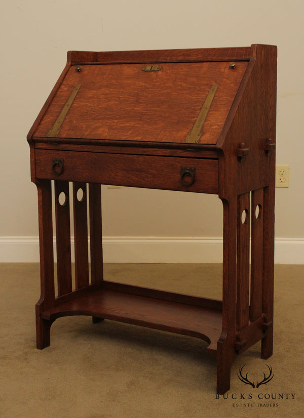 Antique Mission Oak Arts & Crafts Period Slant Front Writing Desk