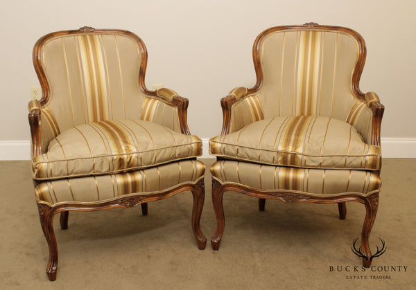 French Louis XV Style Vintage Pair Custom Upholstered Bergere Chairs
