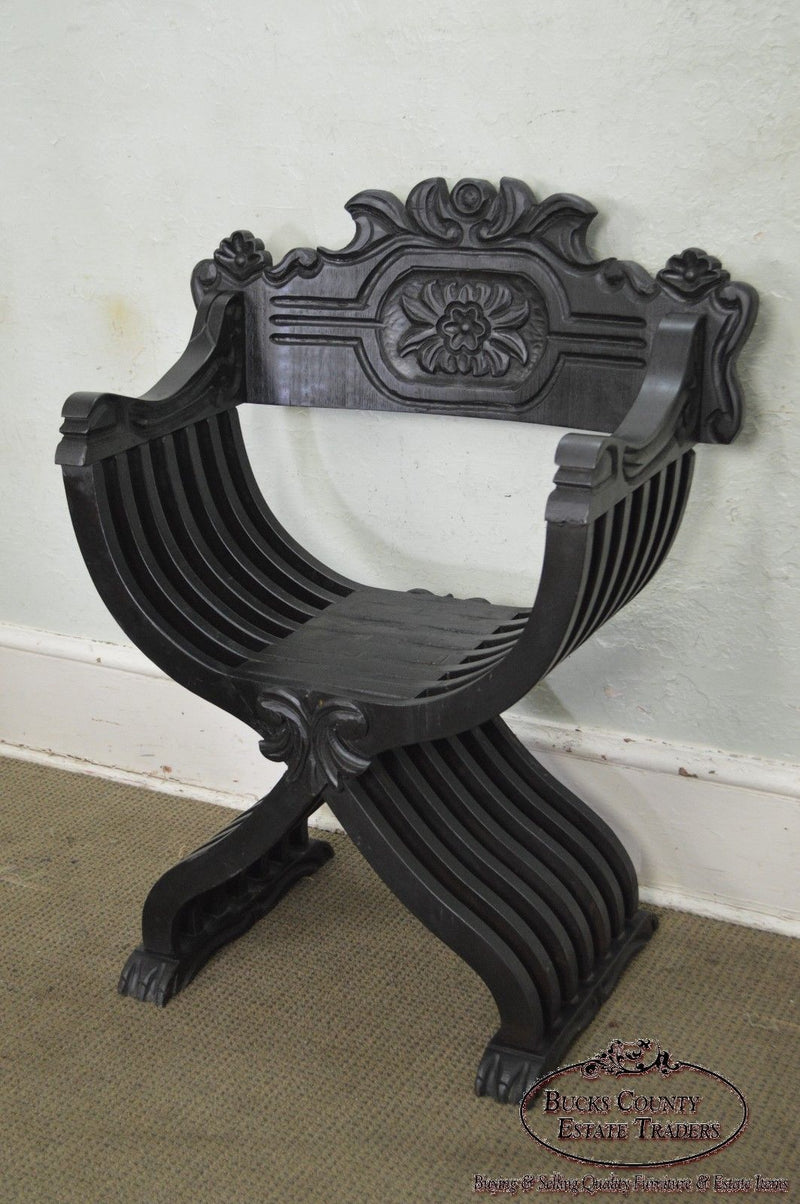 Renaissance Style Vintage Carved Savonarola Arm Chair