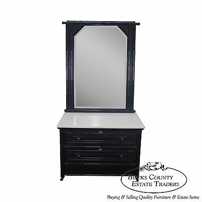 Antique 19th Century Ebonized Faux Bamboo Marble Top Dresser w/ Mirror