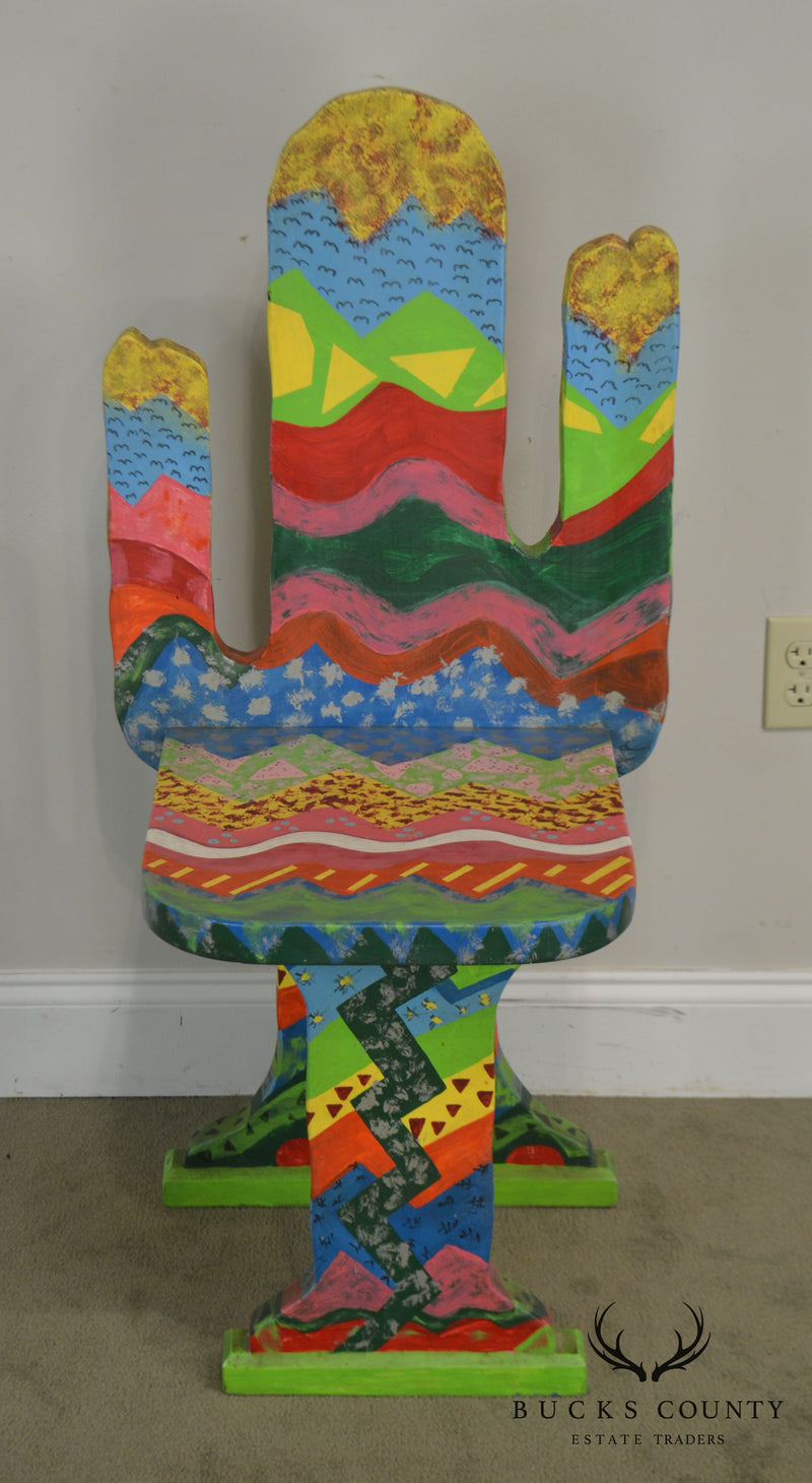 Bill Jackson Colorful Hand Painted Artist Signed Cactus Chair