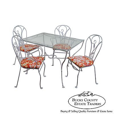 Salterini Art Nouveau Style Vintage Iron 5 Piece Patio Table & Chair Garden Set
