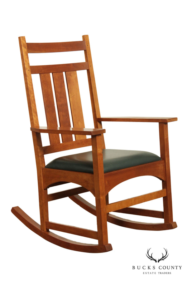 Stickley Solid Cherry Mission Collection Cherry Leather Seat Rocker