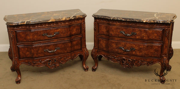 French Louis XV Style Quality Pair Marble Top 2 Drawer Nightstands