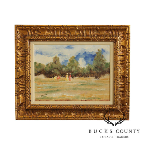Merrick Signed Impressionist Oil Painting Women & Children in Field