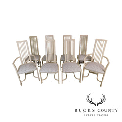 Italian Cream Lacquered Set 8 High Spindle Back Dining Chairs