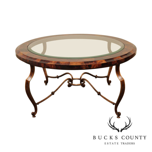 Quality Wrought Iron, Faux Tortise Shell Round Glass Top Coffee Table