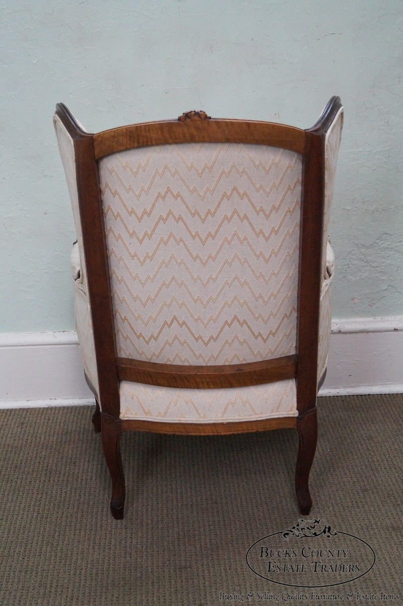 Vintage 1940s French Louis XV style Bergere Wing Chair