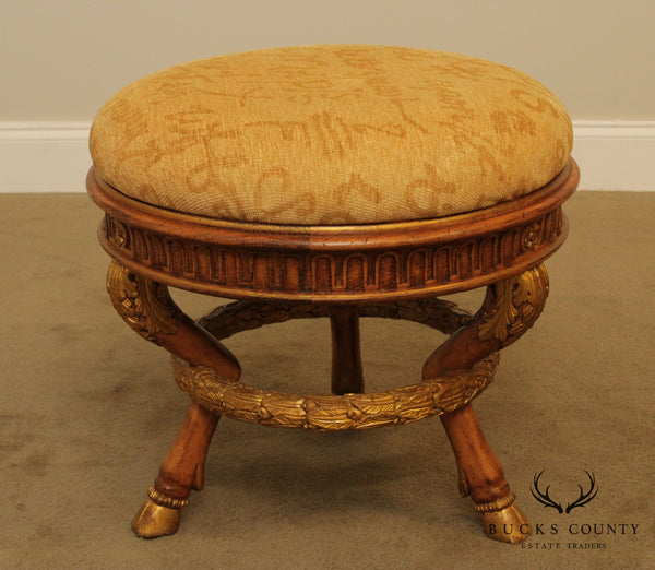 Quality Italian Partial Gilt Carved Hoof Foot Round Stool, Ottoman
