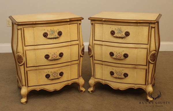 Union National French Louis XV Style Vintage Pair Bombe Paint Decorated Chests Nightstands