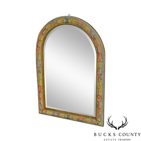 LaBarge Vintage Italian Colorful Hand Painted Arched Beveled Mirror