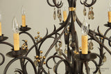 Quality Wrought Iron Leaf and Berry 12 Light Chandelier with Prisms