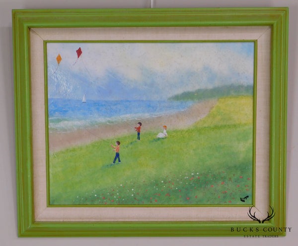 "Walt Litt Enamamel on Copper Framed Painting ""Day with a Kite"""
