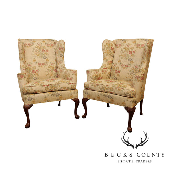 Hickory Chair Vintage Mahogany Queen Anne Style Pair Wing Chairs