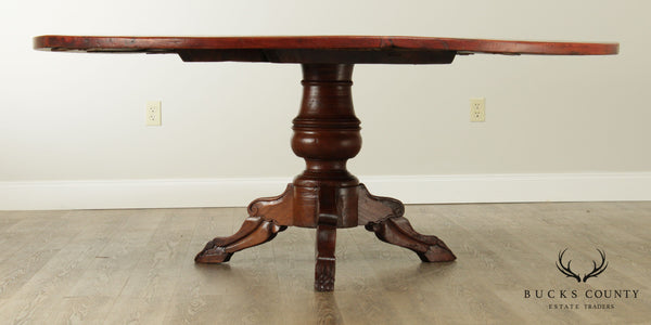 Antique 19th Century French Country Large Round Dining Table