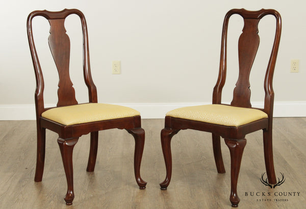Kling Colonial Vintage Solid Cherry Pair Queen Anne Dining Side Chairs