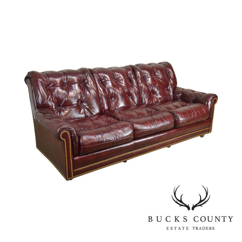Hancock & Moore Oxblood Red Leather Tufted Sofa