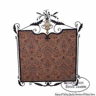 William Switzer Large Louis XVI Style Hand Forged Iron Framed Hanging Textile