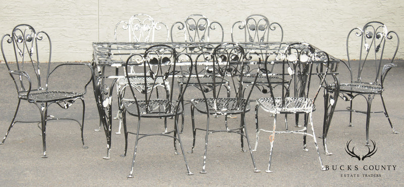 Salterini Vintage Wrought Iron Patio Dining Table 8 Chairs Set Bucks County Estate Traders