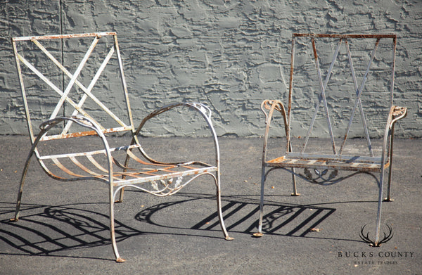 Salterini Vintage Art Nouveau Wrought Iron Pair Garden Patio Lounge Chairs
