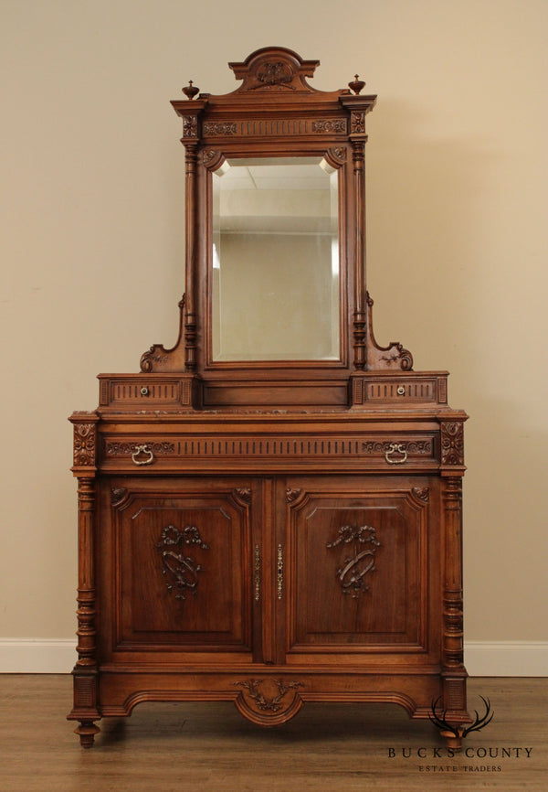 Antique French Walnut Marble Top Dresser, Vanity with Mirror
