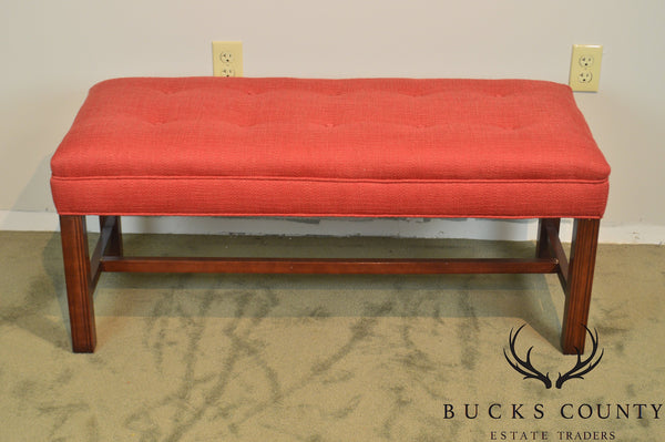 Chippendale Style Tufted Mahogany Bench