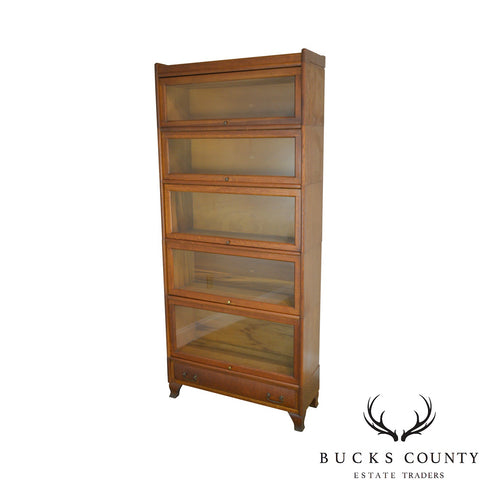 Antique Oak 5 Section Stacking Barister Bookcase with Drawer by Weis