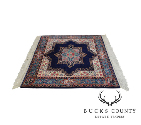 "Fine Quality Hand Tied Blue Kirman 71""x60.5"" Area Rug"