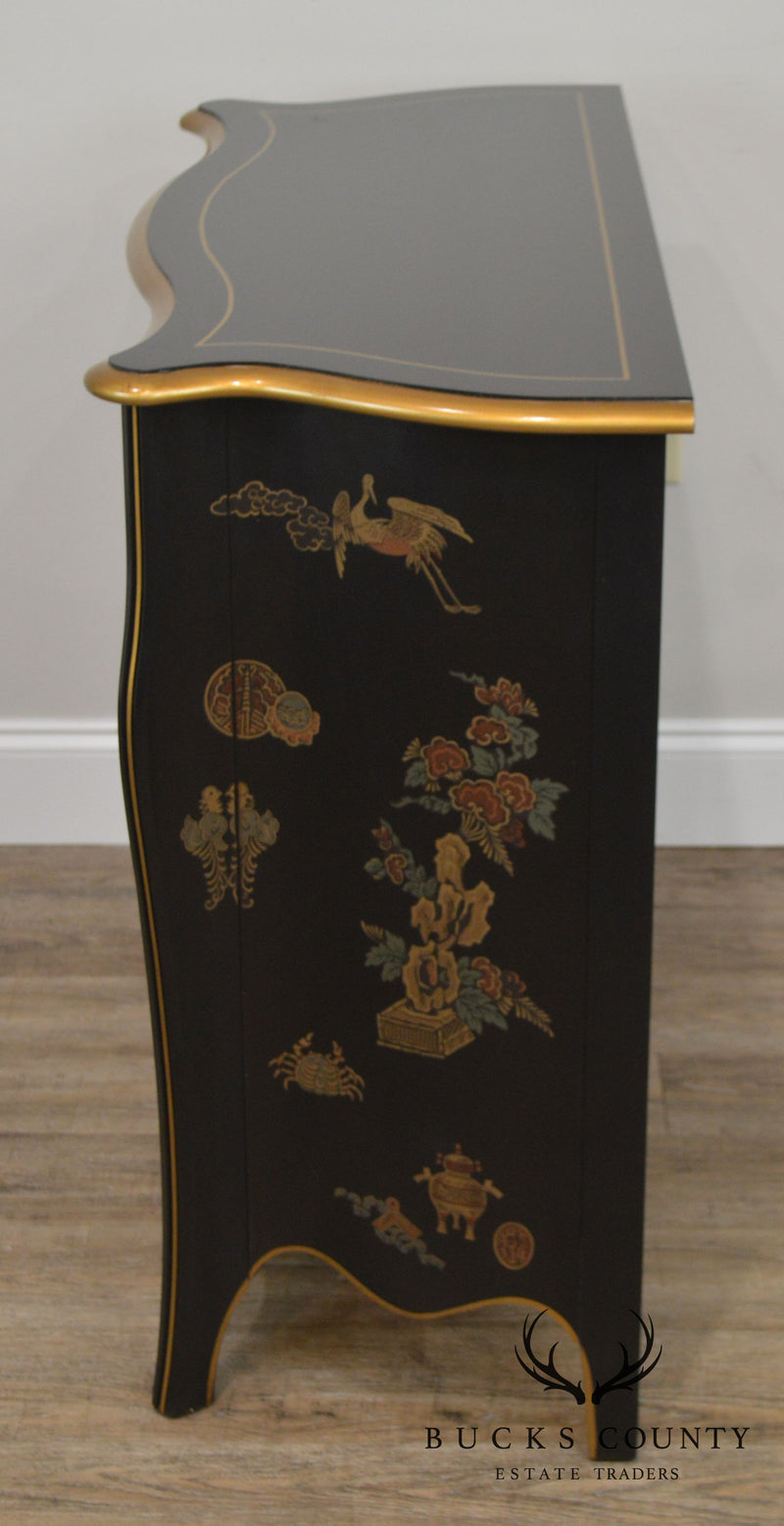 Drexel Louis XV Style Black Chinoiserie Pair Serpentine Chest of Drawers