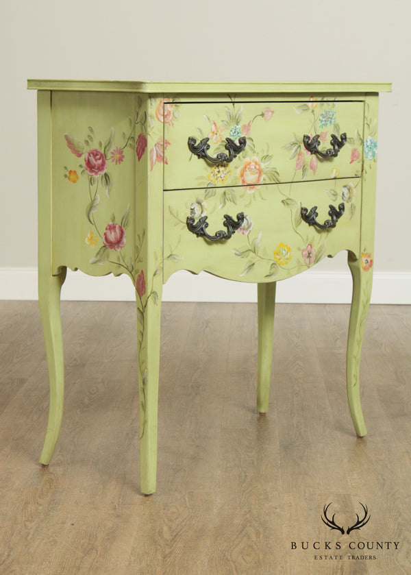 Pulaski French Louis XV Style Paint Decorated 2 Drawer Accent Chest