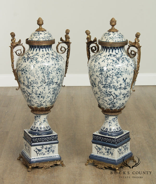 Quality Louis XVI Style Blue & White Porcelain Pair Bronze Mounted Tall Urns, Vases