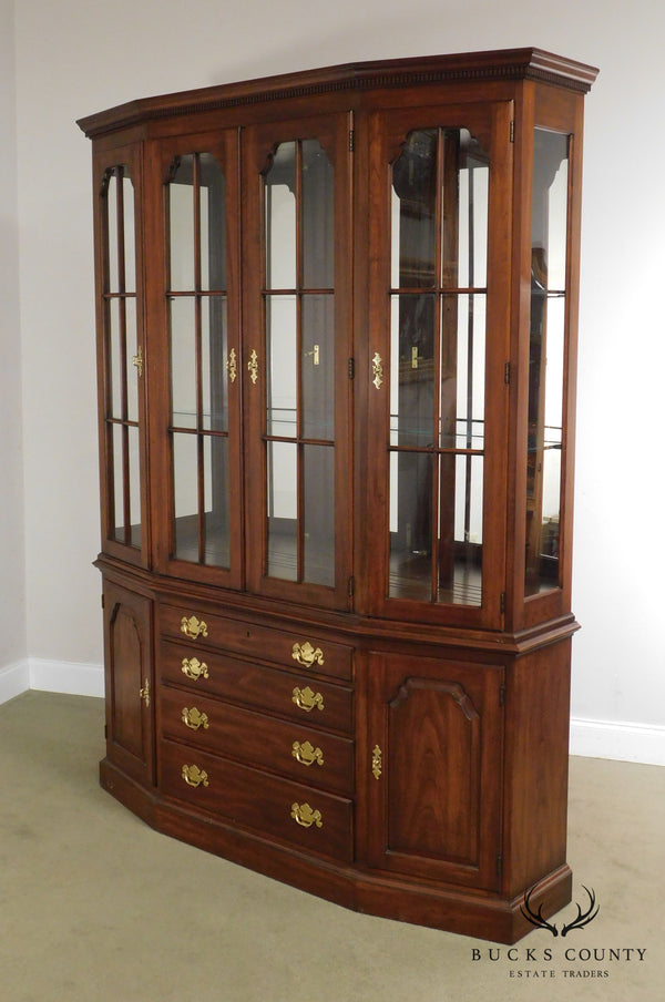 Henkel Harris Solid Cherry Traditional Breakfront China Cabinet