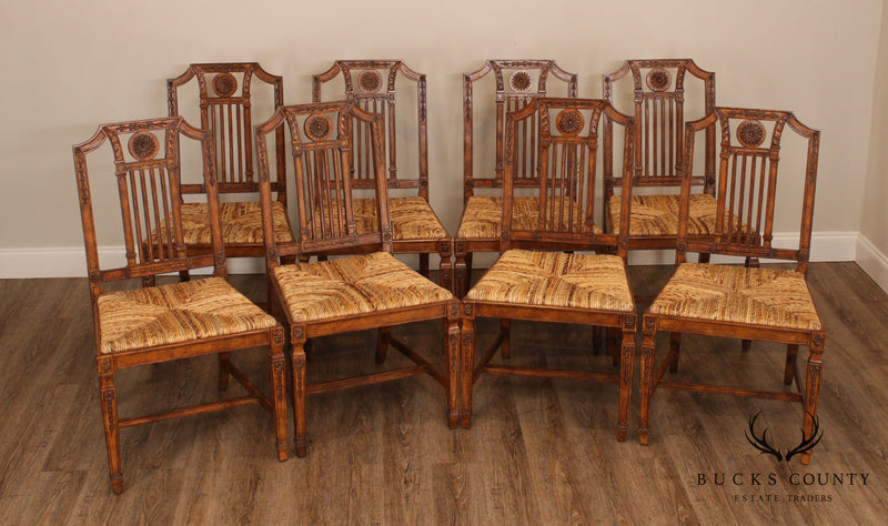 Maitland Smith Set 8 Carved Directoire Style Rush Seat Dining Chairs