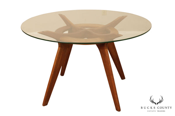Adrian Pearsall Craft Associates Round Glass Top Walnut Compass Dining Table