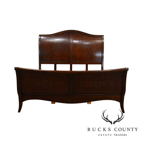French Louis XV Style High Back Cherry King Size Sleigh Bed