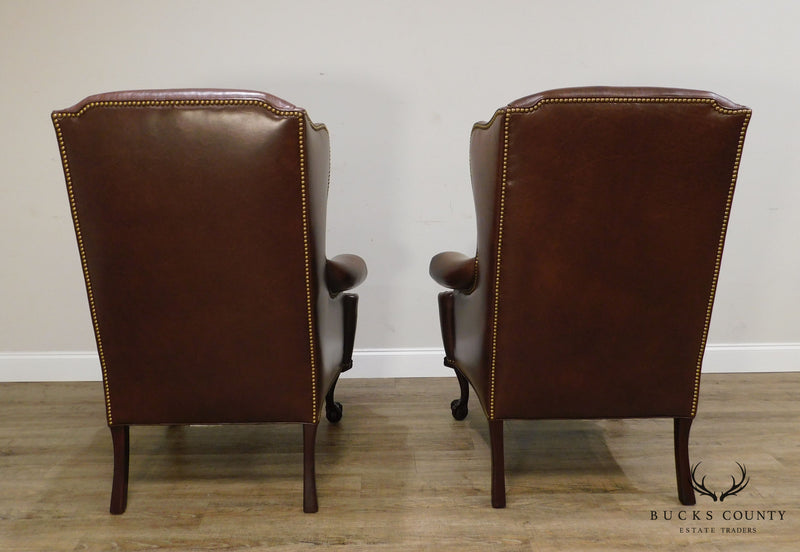 Hancock & Moore Chippendale Style Mahogany Ball & Claw Pair Brown Leather Wing Chairs