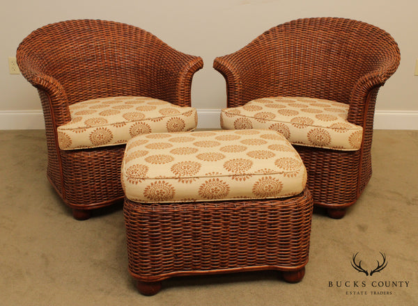 Palecek Pair Woven Wicker Lounge Chairs with Ottoman