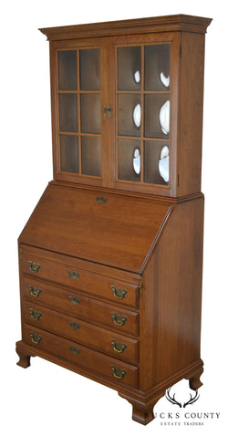 Maddox of Jamestown Solid Cherry Bubble Glass Secretary Desk