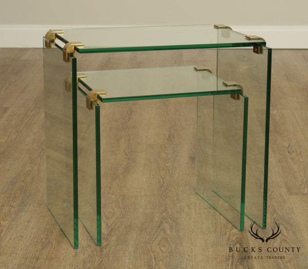 Mid Century Modern Floating Glass & Brass Set 2 Nesting Tables