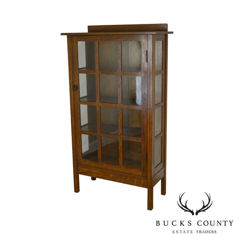Gustav Stickley Mission Oak Arts & Crafts China Cabinet Bookcase
