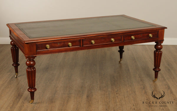 Antique English Regency Style Mahogany Leather Top Partners Desk