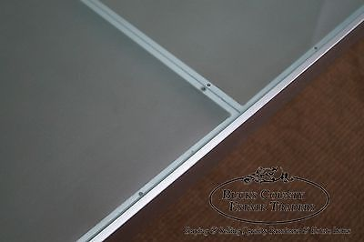 Custom Quality Long Brushed Steel Glass Top Low Table