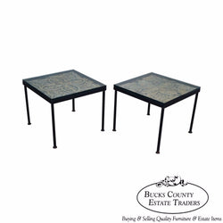 Custom Pair of Square Iron Frame Glass Top Side Tables w/ Tin Panels